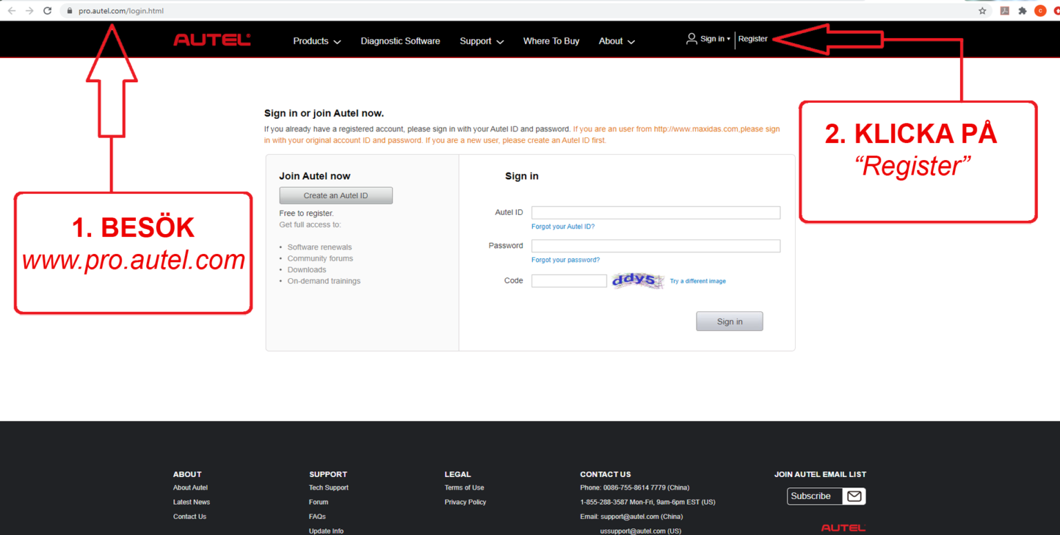 """1. Besök sidan! pro.auteltech.com/  2. Går in i """"Register"""""""